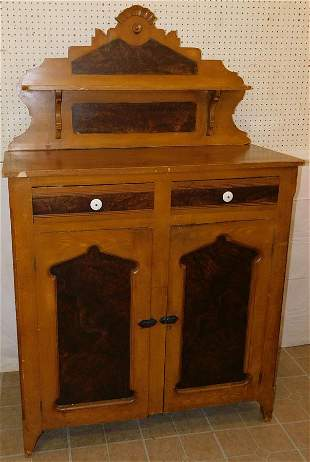Antique Grain Painted Step Back Cupboard