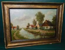 19th C Oil on Canvas Farm Scene Signed