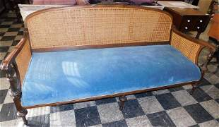 Regency Style Cane Back & Side Walnut Sofa
