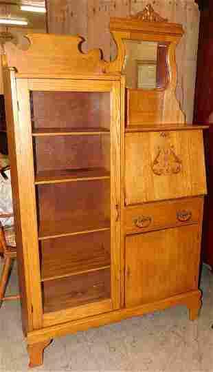 Antique Oak Side by Side Secretary