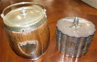 Silverplate Biscuit Jar & SP & Oak Biscuit Barrel