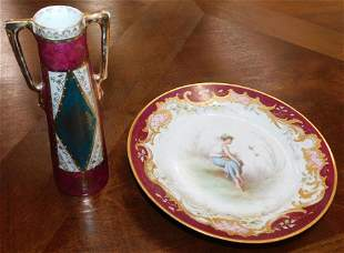 Hand Painted Plate & Royal Vienna Vase