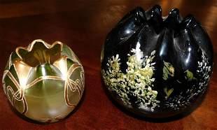 2 Rose Bowls, (1 Art Glass)