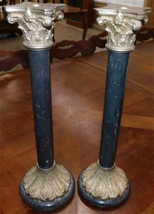 Pair of Brass & Marble Candlesticks