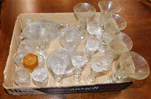 Lot of Etched/Pressed Glass Cordials & Stemware