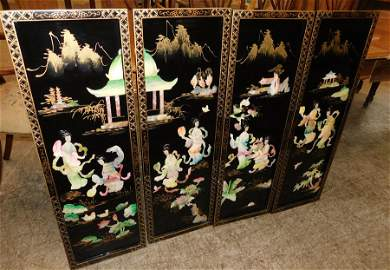 4 Black Lacquered Oriental Panels w/ Shell Accents