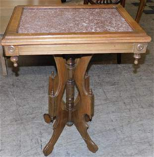 Walnut Victorian Table With Marble Top