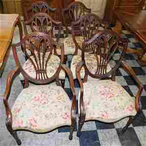 Set of 6 Carved Mahogany Shield Back Dining Chairs
