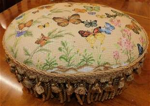 Butterfly Needlepoint Top Upholstered Foot Stool