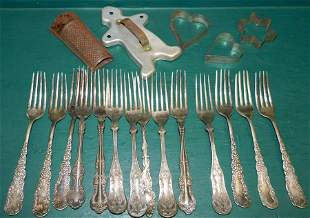 Antique Silverplated Forks & Vintage Cookie Cutters