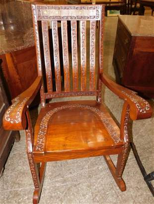Carved Rosewood Brass Inlaid Rocking Chair