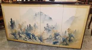 4 Panel Oriental Watercolor on Silk Screen