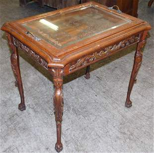 Carved Figural Walnut Tray Top Tea Table