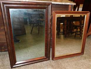 Ant Walnut Vict Framed Mirror & Mah Ogee Mirror