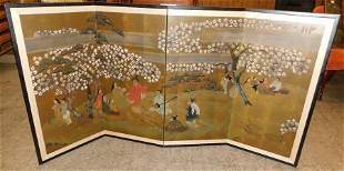 4 Panel Oriental Watercolor Screen