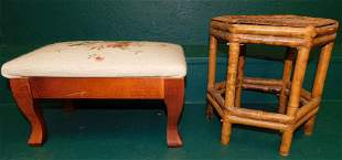 Bamboo Stand & Needlepoint Top Foot Stool