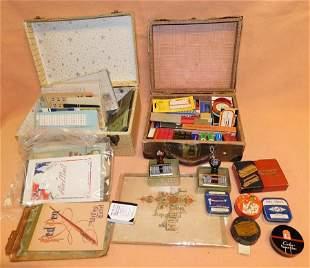 2 Vintage Child's Suitcases w/ Scrap Adv & Paper Items