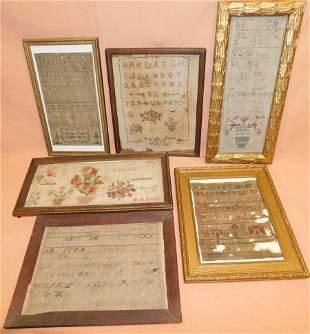 Lot of 6 Antique Framed Needlework Samplers