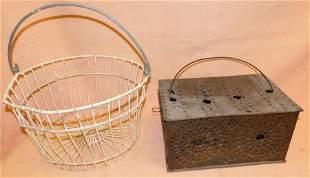 Punch Tin Cricket Box, Vintage Metal Basket