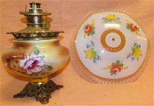 Victorian Painted Glass Oil Lamp & Painted Shade
