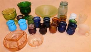 Vintage Ball Jars, Depression Bowl, candle Holders