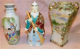 Oriental Figurine of Man, Vase, Nippon Vase