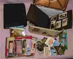 Vintage Tin Box With Photo Album & Post Cards