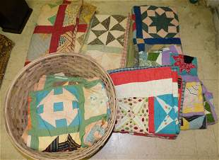 Antique Cotton Basket With Handmade Quilts