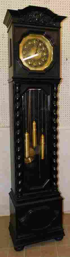 Pntd Oak German Brass Dial G/father Clock