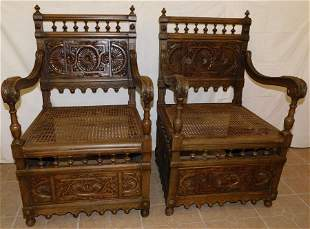 Pr Ant Walnut Carved Cane Seat Arm Chairs
