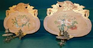 Pair Victorian Wood & Brass Sconces