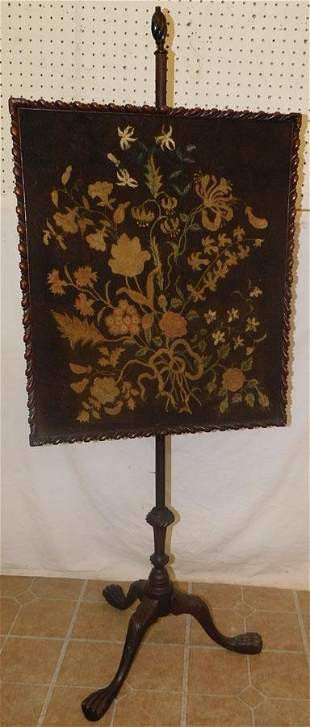 18th C Finely Carved Pole Screen