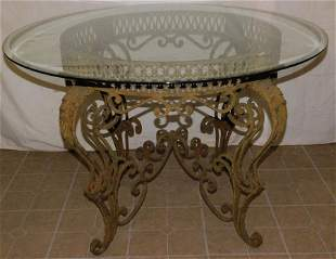 Wrought Iron Round Table W/ Glass Top
