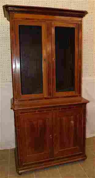 19th C Walnut 2 Pc Wall Cupboard
