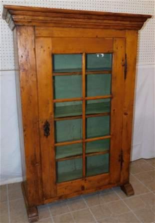 19th C Pine One Door Bookcase