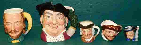 4 Royal Doulton & 1 English Toby Mug
