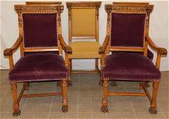 5 Carved Oak Chairs Attributed To R.J. Horner