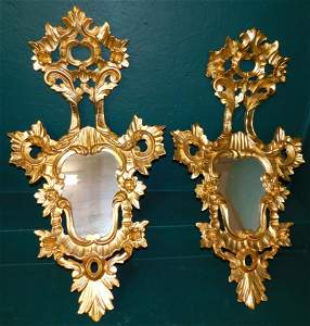 Pair Gilt Paint Carved Wood Mirrors
