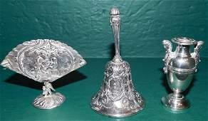 Gorham Sterling Bell, Vase, Card Holder 8 T Oz