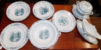 7 Pc English Porcelain Dinnerware V.B. Watteau