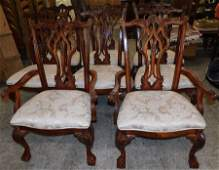 8 Mahogany Carved Chippendale Style Dining Chairs