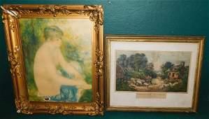 Framed Currier & Ives Print & Print Of Nude Girl