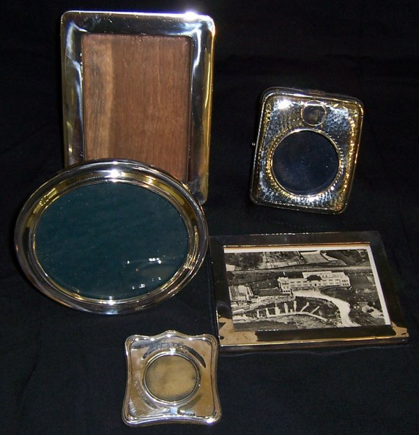 22: (3) English sterling picture frames (each)