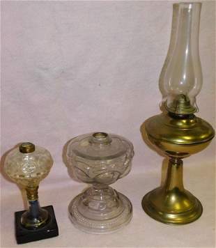 Lot 3 Antique Brass & Glass Oil Lamps