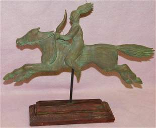 Wooden Carved Indian On Horse Back