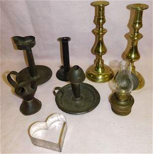 Lot Tole & Brass Candlesticks,Cookie Cutters