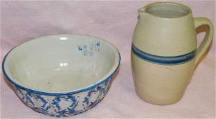 Pottery Pitcher & Sponge Ware Bowl (Bowl Cracked)