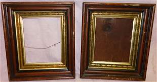 Two Victorian Walnut Shadowbox Frames