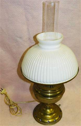 Antique Brass Oil Lamp W/ Milk Glass Shade