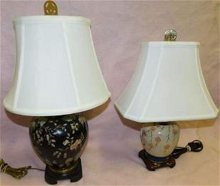 Two Porcelain Vases Made Into Lamps